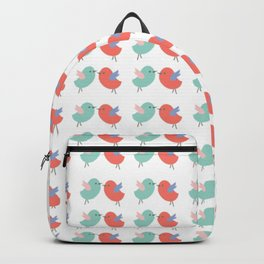 Cute coral green modern bird illustration Backpack