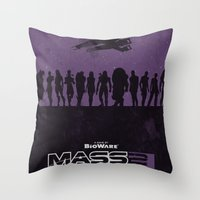 mass effect Throw Pillows featuring Mass Effect 2 by Bill Pyle
