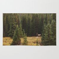 rocky Area & Throw Rugs featuring Rocky Mountain Creek Elk by Kevin Russ