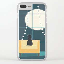 Cat and the Moon Clear iPhone Case