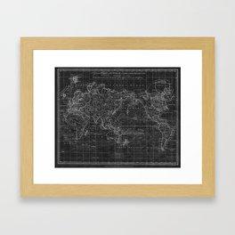 Black and White World Map (1799) Inverse Framed Art Print