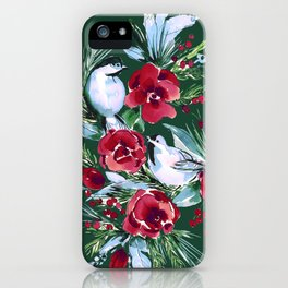 Winter Birds Dark Green iPhone Case