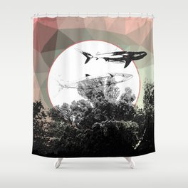 Underwater Abstract Fishes Design Shower Curtain