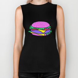 Psychedelic burger / Blue Grid Biker Tank