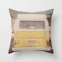 vw bus Throw Pillows featuring VW Bus by Kristine Ridley