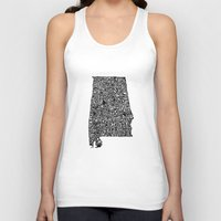 alabama Tank Tops featuring Typographic Alabama by CAPow!