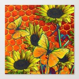 ORANGE-YELLOW BUTTERFLIES & SUNFLOWERS ARTISTIC HONEYCOMB DRAWING Canvas Print