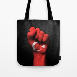 Turkish Flag on a Raised Clenched Fist Tote Bag