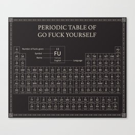 Periodic Table of Go Fuck Yourself Canvas Print