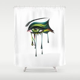 Carnival style green eye Shower Curtain