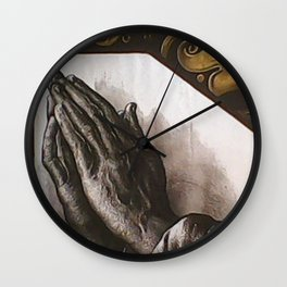 Durer's Praying Hands pictorial painted stained glass Wall Clock