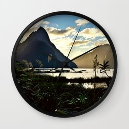 Mountains and Pond (Landscape Photography) Wall Clock