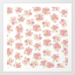Hand painted blush pink pastel watercolor floral Art Print