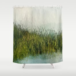 Planet Pixel Mountain Shower Curtain