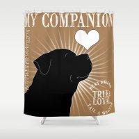rottweiler Shower Curtains featuring ROTTWEILER – My Companion - Brown by TRArtStudios