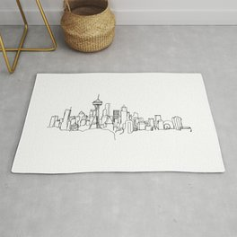 Seattle Skyline Drawing Rug