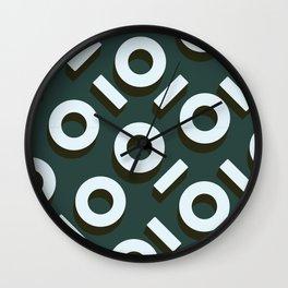 Teal Keyhole Pattern I Wall Clock