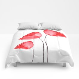 3 red poppies watercolor Comforters