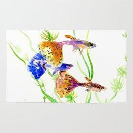 Guppy Fish colorful fish artwork, blue orange Rug