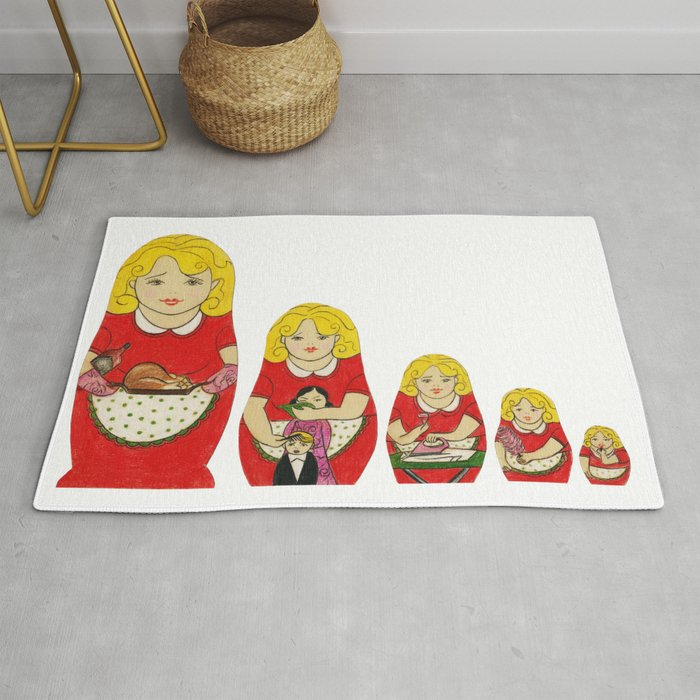 50s Housewife Russian Doll Rug By