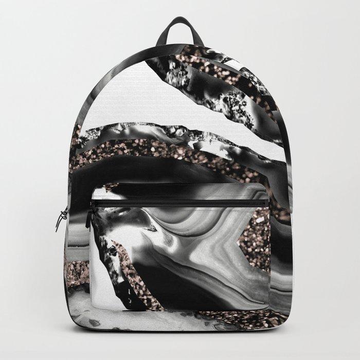 Agate Rose Gold Glitter Glam #3 #gem #decor #art #society6 Backpack