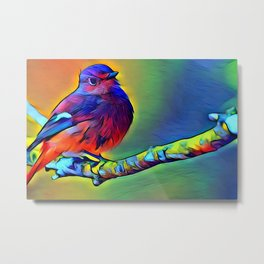 Purple Bird Metal Print