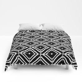 Retro black white square tiles Comforters