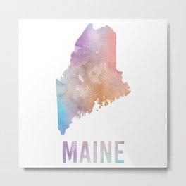 Watercolor State - ME Metal Print