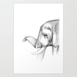 Elephant Origami Art Print