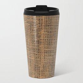 Burlap Grid Travel Mug