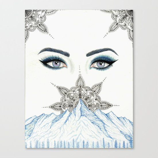 Winter Eyes Mountain Range Mandala Canvas Print