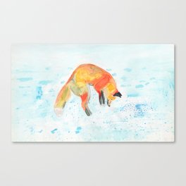 Leaping Fox Watercolor Canvas Print