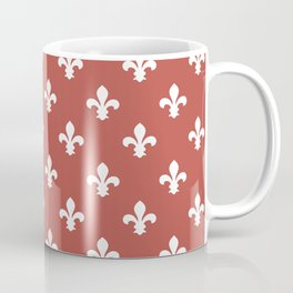 Watermelon Red Southern Cottage Fleur de Lys Coffee Mug