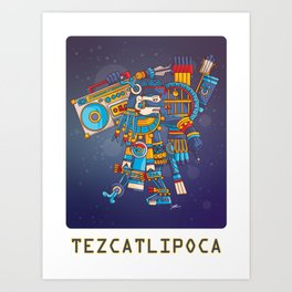 Tezcatlipoca Lord of the Night v2 Art Print