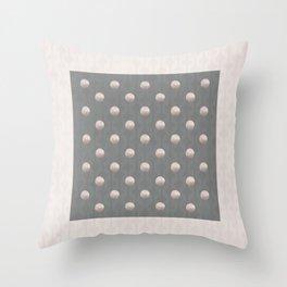 DEBUTANTE soft pink pearls on grey retro print Throw Pillow