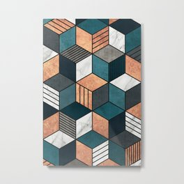 Copper, Marble and Concrete Cubes 2 with Blue Metal Print