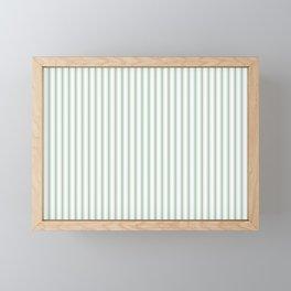 Mattress Ticking Narrow Striped Pattern in Moss Green and White Framed Mini Art Print