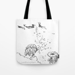 Two Tailed Duck and Jellyfish White Tote Bag