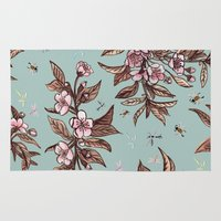 vintage floral Area & Throw Rugs featuring Vintage Floral by Guildown