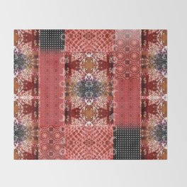 Boho Red Patchwork and Celestial Hippie Pattern Throw Blanket