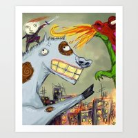 hero Art Prints featuring Hero by Sandra Arteaga