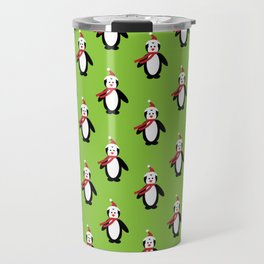 Modern cute red white Christmas penguin pattern Travel Mug