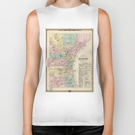 Vintage Map of Milwaukee Wisconsin (1878) Biker Tank