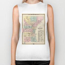 Vintage Map of Milwaukee Wisconsin (1878) Biker Tank