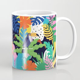 Bold Tropical Jungle Abstraction With Toucan Memphis Style Coffee Mug