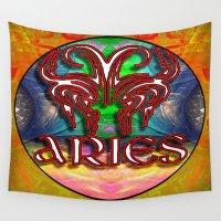 zodiac Wall Tapestries featuring Aries Zodiac by CAP Artwork & Design