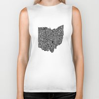 ohio state Biker Tanks featuring Typographic Ohio by CAPow!