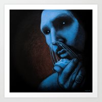 cocaine Art Prints featuring Cocaine Blue by Michal Szyksznian