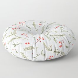 Christmas Pine and Berries Cool Grey Floor Pillow