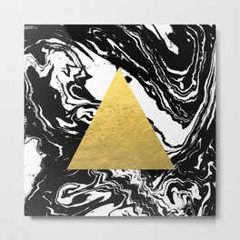 Abstract geometric triangle gold black and white marble nursery dorm college office decor Metal Print